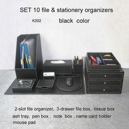 Wholesale Desk Writing Board - Wholesale- 10PCS  set wood leather office desk file stationery accessories organizer pen holder desktop cabinet drawer writing board K202A