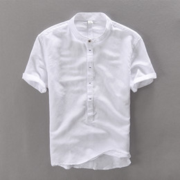 Wholesale Linen Mens Clothing - Wholesale- Men shirt short sleeve summer linen shirts men brand clothing comfortable camisa masculina breathable cotton mens shirt camisas