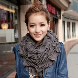 Wholesale Womens Knitted Scarves - Wholesale- New Fashion Womens Winter Warm Knitted Layered Fringe Tassel Neck Circle Shawl Snood Scarf Cowl 13 Colors Luxury Brand New