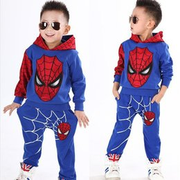 Wholesale Boys Spider Costume - 2017 Comic Classic Spider Child Costume Sports suit 2 pieces set Tracksuits boys Clothing sets Coat Pant for 2-6y