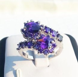 Wholesale Gemstone Ring Tanzanite - Elegant Women Gift Jewelry Gorgeous Tanzanite PurpleFlower gemstone 14KT White Gold GP Classy Ring