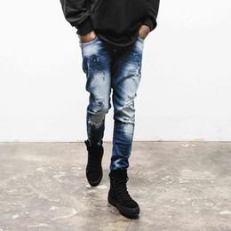 Wholesale Denim Spots - Wholesale-High Quality Mens Ripped Biker Jeans blue Slim Fit small spots Pomo Motorcycle Jeans Men Vintage Distressed Denim Jeans Pants