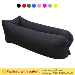 Wholesale Travel Cot Wholesale - 2017 new factory supply square head black beach fast air inflatable couch with iphone bottle pocket