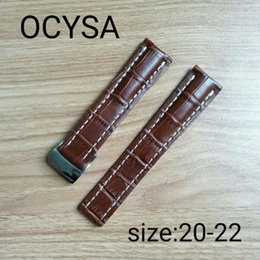 Wholesale Watches Navitimer - OCYSA Brand High Quality Genuine Leather Watch Strap 22mm24mm Watch Band For navitimer avenger Breitling Watchband Buckle With Logo