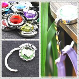 Wholesale Women Mix Handbags - Fashion Crystal Folding Foldable Metal Hand Bag Handbag Purse Hanger Hook Holder mix Colors For Women