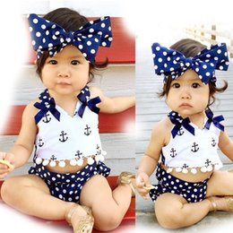Wholesale Top Girl Hair - New 3pcs summer baby girls Halter tops+polka dot shorts+hair blend clothing suits child infant clothes kids sets baby costumes
