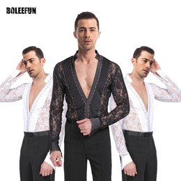 Wholesale Latin Dance Wear Top - Adult Men's Latin Dance Wear Set Female Latin Bodysuit Modern Dance Costumes Top & Latin Pant Trousers