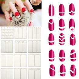Wholesale nail stickers girls - Girl Women French Manicure Nail Sticker DIY Stencil Nail Art Form Fringe Guides Manicure Stickers Tips Tape 18 Styles Per Set SV027769