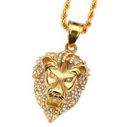Cara de león colgante online-Al por mayor-18K chapado en oro Rhinestone Lion Head cara Hip Hop colgante collar cadena del encanto para hombres y mujeres de moda accesorios de vacaciones