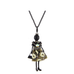 Wholesale dance key chains - Hot France Dance Doll Necklace Pendants New Fashion Lovely Kids Doll Pendant Key Chains Charms Jewelry For Women Styles Christmas Gifts