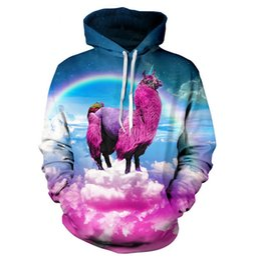 Wholesale Outerwear Sweatshirt - Wholesale-Women Men Fashion llama Hoodie Outerwear Harajuku rainbow pink llamacorn 3D Hoodies Loose Hooded Sweatshirt Free shipping