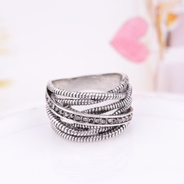 Wholesale Silver Ladies Ring Bands - wholesale 925 Silver Simple diamond ladies retro ring Fit Pandora Cubic Anniversary Jewelry for Women Christmas gif