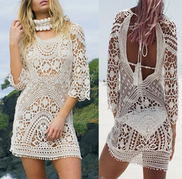 Wholesale White Beachwear Dresses - New Summer Beach Tunic Swimwear Loose Dress Swimsuit Cover Up Sarong Beachwear Bikini Cover-Up Robe