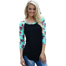 Wholesale Bell Sleeve Xl - Wholesale- Women Ladies Floral Striped T-shirt Casual Slim 3 4 Sleeve Shirt Tops Crew Neck Tee Shirt