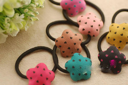 Wholesale Point Ring - love plum blossom ring children hair button Five-pointed star Cute cartoon hair elastic rope baby hair accessories