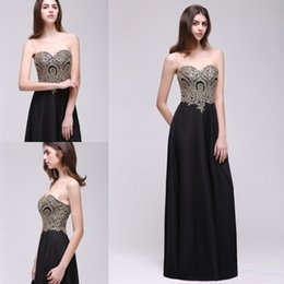Wholesale Plus Size Bride Elastic Lace - Sale In stock Robe De Soiree Longue 2017 Long Black Evening Dress Gold Lace Elegant Party Evening Gown Mother of the bride dress