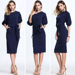 Wholesale Chiffon Plaid - 2017 Hot Dark Navy Women Office Dresses Half Sleeves Knee Length Clothing Women Work Wear Casual New Design Plaid Patchwork Dress FS0367