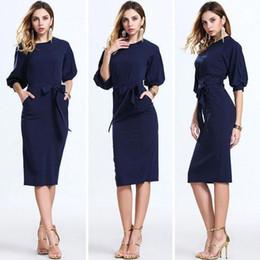 Wholesale Slash Clothes - 2017 Hot Dark Navy Women Office Dresses Half Sleeves Knee Length Clothing Women Work Wear Casual New Design Plaid Patchwork Dress FS0367