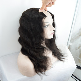 Wholesale Cheap Real Human Hair Wigs - Cheap U part wig Peruvian virgin hair body wave real human hair upart wig for black women #1b free shipping