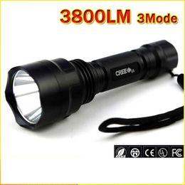 Wholesale nitecore flashlights - LED Hunting Flashlight Torch Cree Led Torch C8 Cree light lantern nitecore Waterproof High Power For 1x18650 Hiking Camping