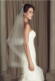 Wholesale Paloma Blanca - Cheap Wedding Veils Paloma Blanca Ivory White Bridal Veils 2 Layers Fingertip Length Tulle Bridal Accessories Under 10$