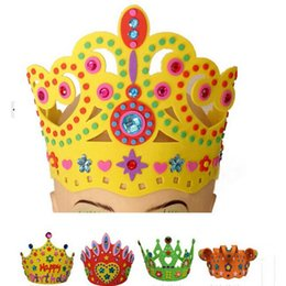 Wholesale Eva Diy Crown - Wholesale-Special Offer Baby Kids EVA Birthday Party Hat DIY Diamond Crown Hats for Children