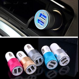 Wholesale Charger Solar For Car - New arrived Dual USB Port Car Charger Phone Charger Universal 12 Volt 2.1 A OEM for Apple iPhone iPad Samsung Galaxy LG