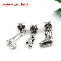 Wholesale Roller Skate Charms - MIC .150pcs   lot Dangle Antique silver alloy Mixed 3D Roller skates charm Beads Fit Charm Bracelets DIY Jewelry