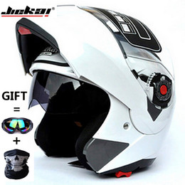 modular helmet visor Promo Codes - Wholesale- 6 Colors JIEKAI105 Dual Visor Modular Flip Up helmet motorcycle helmet racing Motorcross helmet DOT ECE Sticker Size M,L ,XL,XXL