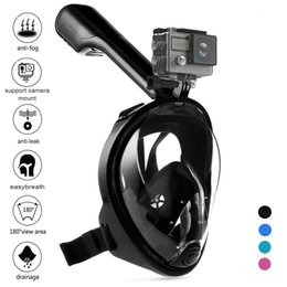 Wholesale Camera Strap Design - 180 Degree Compatible Full Face Snorkel Mask with Camera Mount,Panoramic View,Anti-Fog and Anti-Leak Design,Adjustable Head Straps