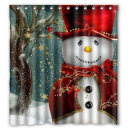 Wholesale Wholesale Shower Curtain - Christmas tree snowman Santa Claus design of polyester fabric waterproof bathroom shower curtains with 12 hooks 165*180cm C1656