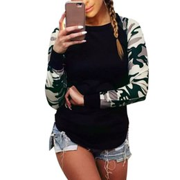 Wholesale Dip Hem - Wholesale- Womens Ladies Curve Hem Dip Summer Camouflage Army Sleeve Top Crew-Neck T Shirts Hot Style