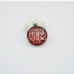 Wholesale Sports Team Jewelry - 20pcs NCAA Texas A&M Sports Team Glass Button Snaps Jewelry Fit For 18MM Good Quality Charm Bracelet