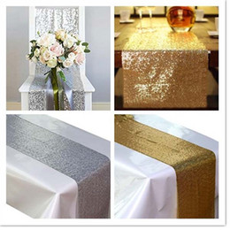 Wholesale runner accessories - 10pcs lot 30cm*180cm Silver Gold Color Sequin Table Runners Sparkly Bling Table Runner Wedding Party Decorations Supply Accessories ..