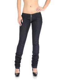 Wholesale Rose Zip - Wholesale- Sexy Low Rise Pants Jeans Trousers Women Lady Zip Crotch Slim Black Dark Blue