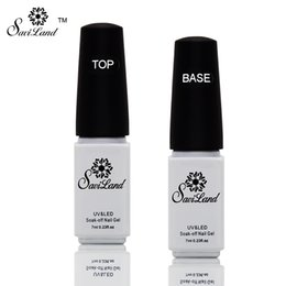 Wholesale Uv Top Gel - Wholesale-Saviland 2pcs Non-cleaning Base and Tpp Coat for UV Gel Polish Top Coat Top it off Nail Lacquer Foundation Nails Glue