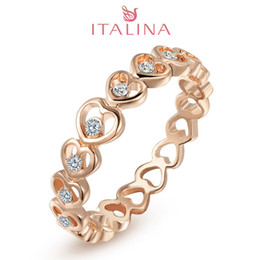 Wholesale Italina Jewelry Sets - Italina brand 3-20 size 2016 18K rose Gold aneis Women's crystal heart bijoux jewelry Austrian crystal wedding rings wholesale