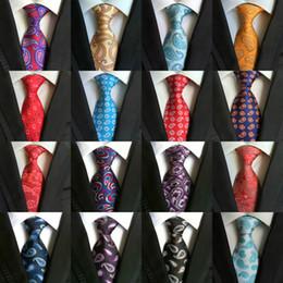 Wholesale Grey Neckties - High Quality 8cm Men Ties Fashion Classic Neckties Handmade Wedding Ties Silk Paisley Neck Tie Stripes Plaid Dots Business Ties 185 Styles