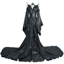 Wholesale Black Star Cosplay - High Quality Custom Made Dark Witch Maleficent Adult Women Halloween Party Cosplay Costume Maleficent Dress sexy dress Custom made