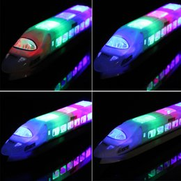 Wholesale Bullet Sound - Kid's Toy Electric Bullet Train Toy LED Flashing Lights Sounds with LED Lights Railcar Toys Child Kid Boy Girl Gifts