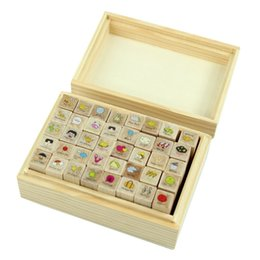 Wholesale Wooden Cartoon Stamps - Wholesale- SZS Hot 40pcs set Happy Life Diary Girl Cute Cartoon Mounted Rubber Stamp Wooden Box