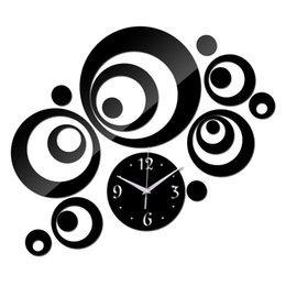 Wholesale Acrylic Walls - Wholesale-2015 promotion acrylic mirror black silver quartz wall clocks real home decor 3d stickers diy clock beautiful art free shipping