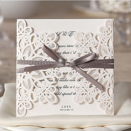 Wholesale Lace For Invitations - factory price elegant Personalised Laces Laser Cut Korean Wedding Invitations Card For Wedding free dhl to US WM207