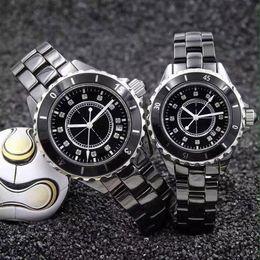 Wholesale Black Ceramic Watches For Women - Famous Dress Women Mens Watches Luxury watch Diamonds Dila Ceramic Fashion brand Quartz Wristwatches for Men Women C lady gift AAA relojes