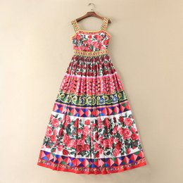 vestido de verano rojo correa de espagueti Rebajas 2017 marca mismo estilo vestido flora impresa verano una línea rojo sin mangas grano de la falda vestido de falda con tirantes D322