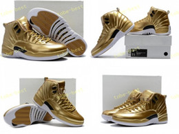 Wholesale Metallic Tables - High Quality Retro 12 Metallic Gold Men Basketball Shoes 12s Gold Sports Sneakers New Released With Shoes Box Size 7-13 Eur 40-47