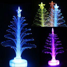 Wholesale Led Fiber Optic Trees - New 12cm Colorful LED Fiber Optic Nightlight Christmas Tree Decoration Light Lamp Christmas gift