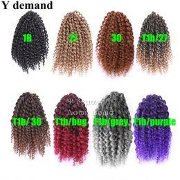 Wholesale Synthetic Braiding Hair Purple - Ombre Twist Crochet Braids Short Hair 3pcs 8'' Malibobo Synthetic Faux Locs Crochet Braid hair Extensions 100g Y demand