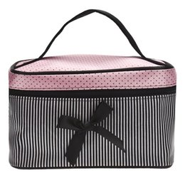 Wholesale Large Bowknot - Wholesale- Cosmetic Bag Bowknot Stripe Dot Printing Panelled Color Satin Makeup Box Girl Large Capacity Storage Bag Estuche Maquillaje#61