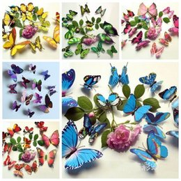 Wholesale Iron Plant Growth - Home Decor Sticker Art Design Decal Wall Stickers Room Decorations 3D Butterfly